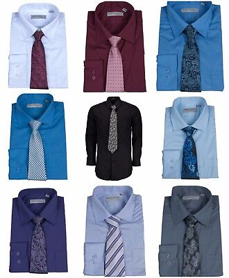 Men's Premium Button Down Solid Dress Shirt Long Sleeve Cotton Blend Free Tie