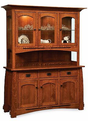 Amish Mission Arts Crafts Hutch China Cabinet Colebrook Buffet Solid Wood