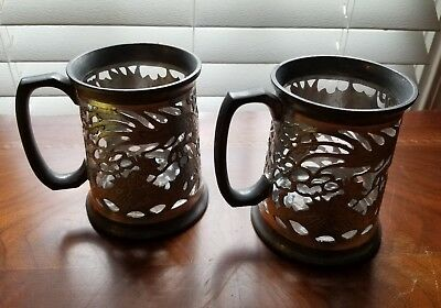 *Pair Swatow Pierced Pewter And Glass Lined Dragon Tankards
