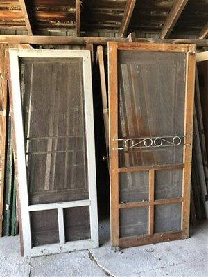 10 Vintage Set of Wood Screen Doors Architectural Salvage Trim Panel Frame a30