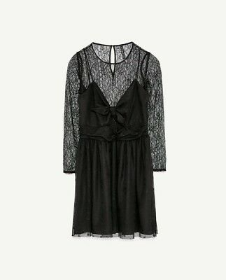 8d0a35a5 Zara Trafaluc Lace Dress With Bow Detail Large, Black Sleeves Cocktail Party