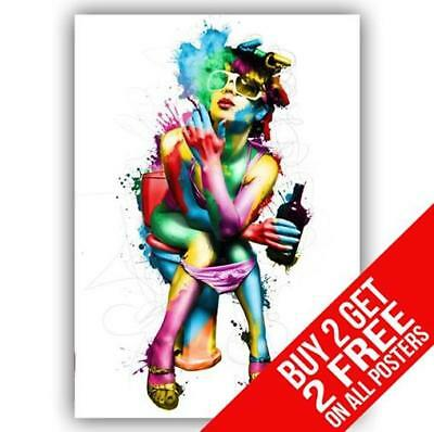 Party Girl On Toilet Smoking & Drinking Poster Print A4 A3  - Buy 2 Get 2 Free