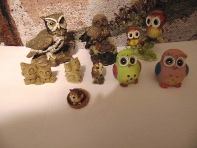 Lot of 9 Assorted Owl Figurines Homco and more