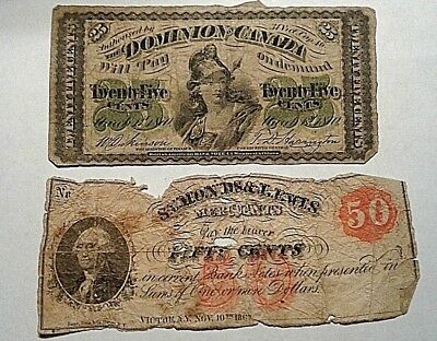 1870 Dominion of Canada Fractional Issue 25 Cents, 1862 50 Cent Note No Reserve