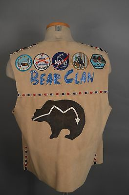 VTG 90s INDIAN GUIDE YMCA Camping VEST 11 Patches HANDMADE L/XL ADULT SZ