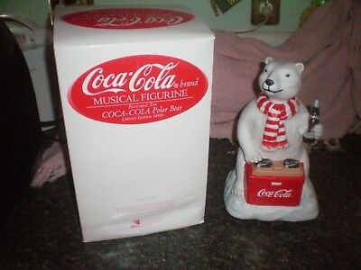 Vintage Waco Melody In Motion  Coca Cola Musical Animated Polar Bear Figurine