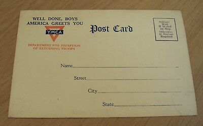 """1919 WWI Soldier/Sailor YMCA 'Return Home' Postcard~""""WELL DONE BOYS"""" Liberty~"""