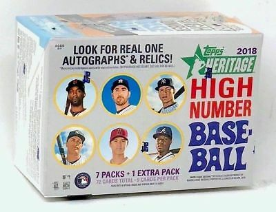 (1) 2018 Topps Heritage High Number # Baseball Sealed Blaster Box ~ 8 Packs