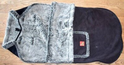 Original buggy snuggle - black with grey fluffy lining - good condition