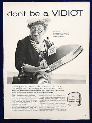 Vtg 1960 retro TV picture tube lady advertisement print ad art Don't be a Vidiot