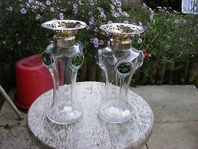A Pair of Art Nouveau Marples & Co Silver Mounted Vases