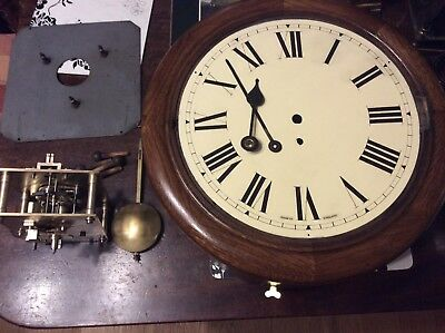 Chain Driven Fusee Wall Clock, Raiway Station Type, Fully Restored.