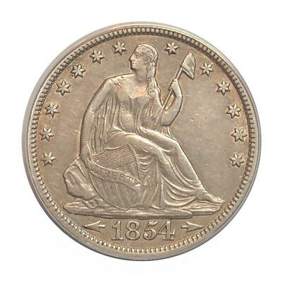 1854 50c Seated Liberty ANACS AU 50 - Details Cleaned