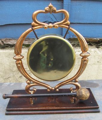 Antique Art Nouveau Copper and Brass Dinner Gong