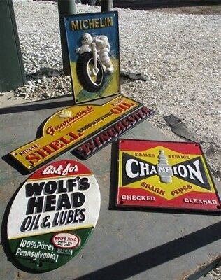 5 Cast Iron Signs Plaques Champion Michelin Shell Winchester Wolfs Head Mancave