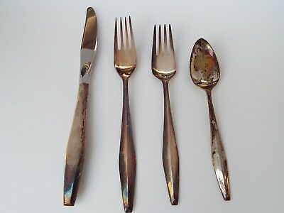 Vintage Collectible Reed & Barton Diamond Sterling Silver Set,Knife,Forks,Spoon