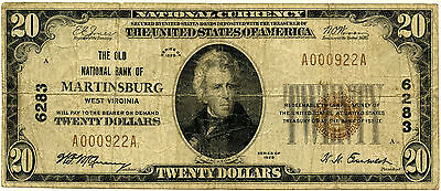 $20 The Old National Bank of Martinsburg West Virginia VG/F
