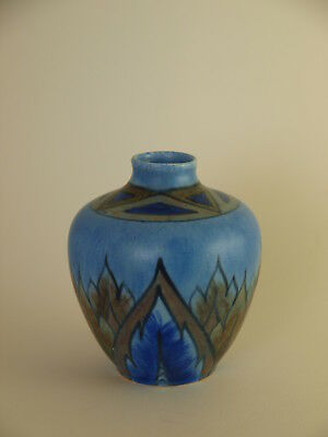 Vintage George Clews Hand Painted Chameleon Ware Small Blue Flame Vase