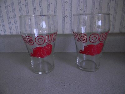 Lot of 2 Beer Glass 32 oz PIG OUT Barware Drinkware Party Advertising