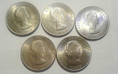 Sir Winston Churchill  Queen Elizabeth 1965 Commemorative Lot of 5 Coins No Res