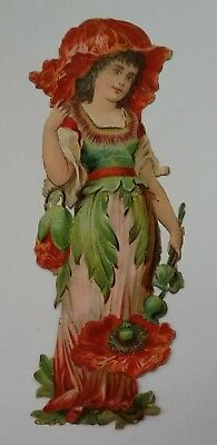 Good, Emboss, diecut, Victorian Scrap. Poppy/ Flower girl. Approx.13x6cms. v.g.c