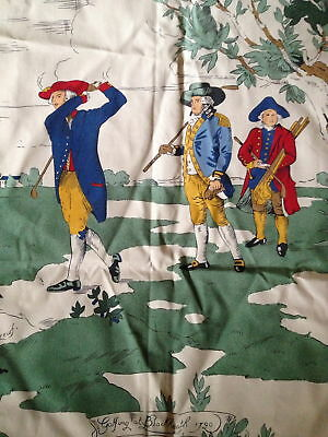 5 pieces of vintage Royal Foursome at Leith Links golfing toile cotton fabric
