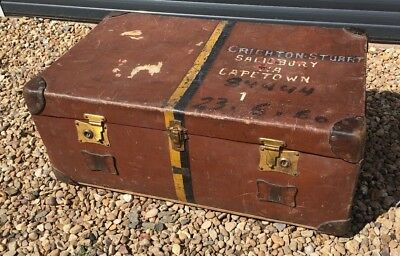 Vintage Pukka Travel Chest / Vintage Military Trunk Antique Suitcase