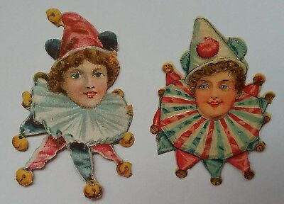 2, Bright, Emboss.Victorian Scraps.Young  Clown heads. Approx.6x5cms