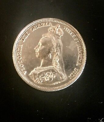 1887 Great British 92.5% sterling silver Queen Victoria Shilling VF Condition