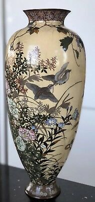 Antique Large Japanese Cloisonne Vase With Birds And Flowers