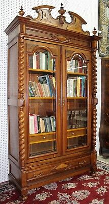Antique French Barley Twist Two Door Hunt Bookcase Walnut Beveled Glass C1870