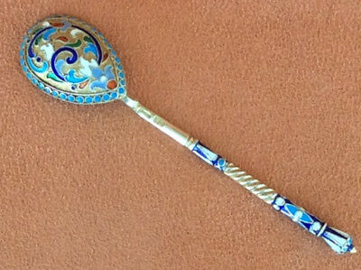 Great Original Russia Spoon Cloisonne Enamel Silver 84 Russian Imperial Antique