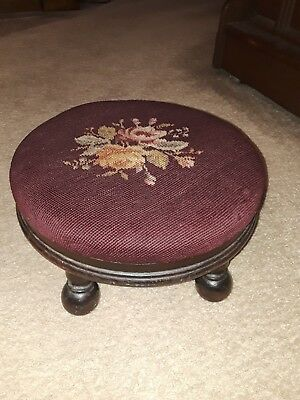Needlepoint Cross Stitch round Foot Stool Bench Rest Decor Seat Floral