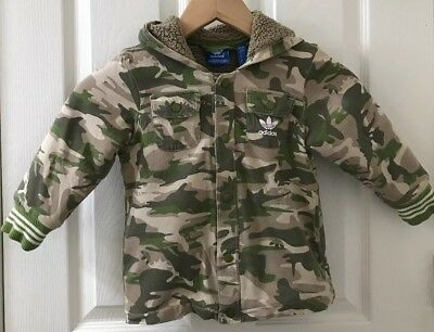 ADIDAS Camouflage Button Up Hooded Jacket Lined Camo Hoodie Kids Toddler 4T EUC!
