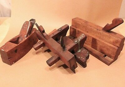 Antique Woodworking Plow Plough Molding Block Plane Wood Steel  Selling Lot of 3