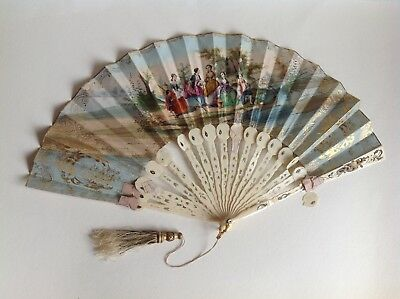 Antique Fan Hand Painted Ivory Signed Numbered No 674 Victorian Scene 2 sided