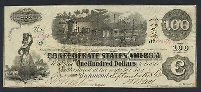1862 $100 T-40 Confederate note # 48890 ~ Military Officer or Civilian endorsed
