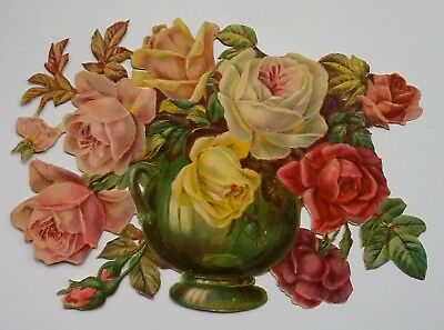 Largish Embossed  Victorian Scrap. A Vase of Coloured Roses. Approx. 18x13cms.