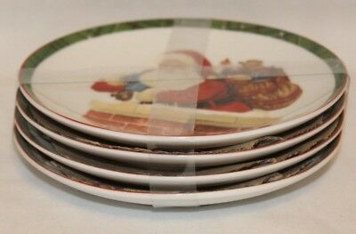 222 Fifth Hello Santa Holiday Porcelain Christmas Appetizer Plates Set of 4 New