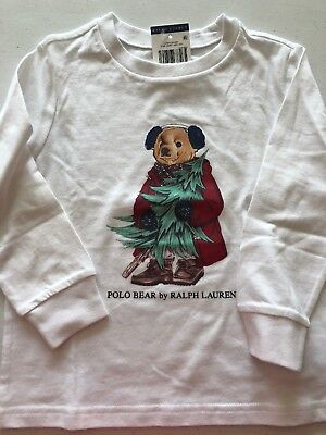 New Polo Ralph Lauren 18 24 Month 3T 4T 5T Bear Shirt L/S Christmas Holiday