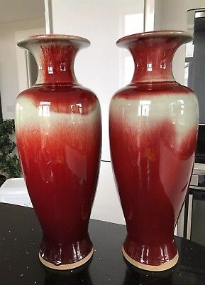 Very Large Pair Of Chinese Vases Four Marking At The Bottom Quality Red Celadon