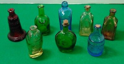 Set of 8 Vintage Miniature Wheaton Colored Glass Bottles Good Condition- NCA7799