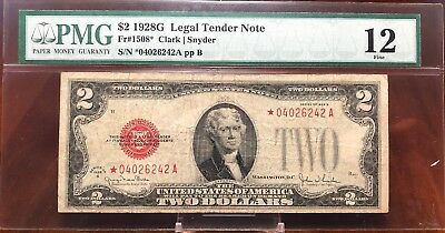 1928-G $2 Note Star Note ~ $2 Bill ~ Fine-12 PMG - Rare!