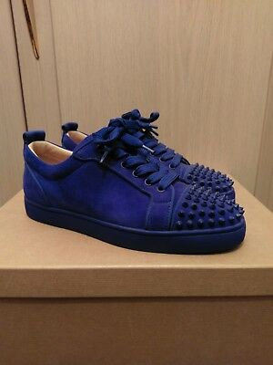 594fbb34ba1a Christian Louboutin Louis Junior Spikes Flat Veau Velours Blue 40 EUR 6 UK