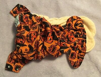 Halloween Scaredy Cat (A) Nicki's Diapers One Size Bamboo AIO (Snap)