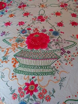 """Large Antique Silk Hand Embroidered Table Piano Scarf Shawl  22"""" Fringe"""