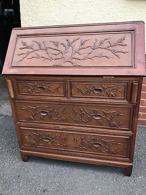 Vintage Antique Mahogany Writing Bureau Desk Chinese Style