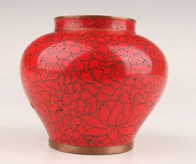Old Chinese Rare Handmade Red Flower Cloisonne Jar Collection Home Decor