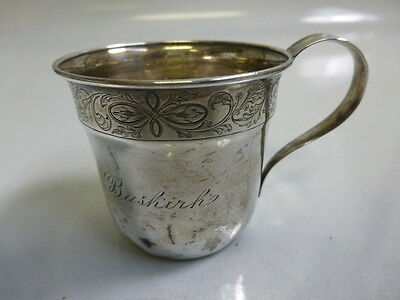 Antique Sterling Silver Monogrammed Baby Cup / Youth Mug 1910/20's