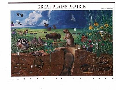 US Stamps 34c Sheet of 10 Nature of America Great Plains Prairie 3rd In Series